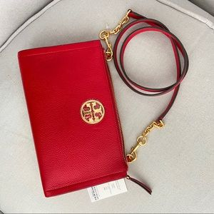 NWT Tory Burch Carson Crossbody Clutch Bright Red